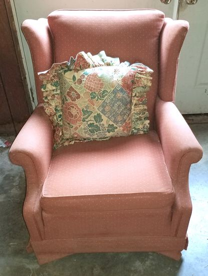 Upholstered Wingback Rocking Chair
