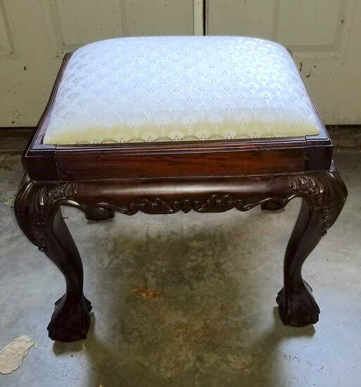 Beautifullly Carved Mahogany Upholstered Top Foot Stool with Ball & Claw Feet