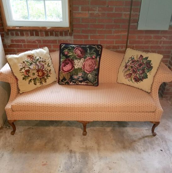 Camel Back Sofa with Wooden Queen Anne Legs & Beautiful Tapestry Throw Pillows