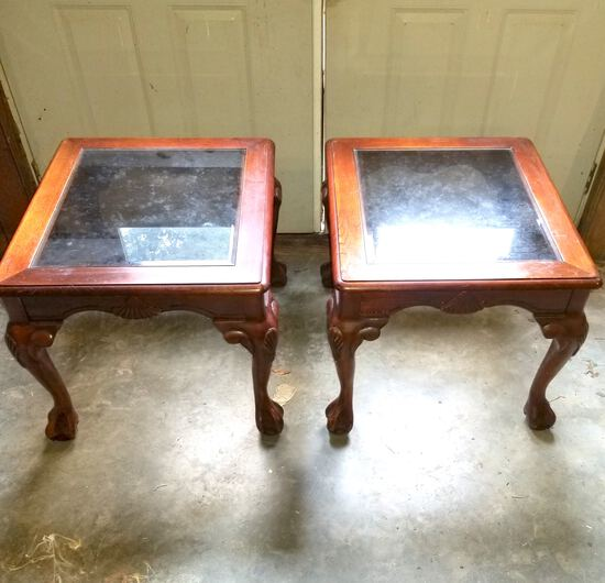 Pair of Glass Top Wooden Side Tables with Ball & Claw Feet