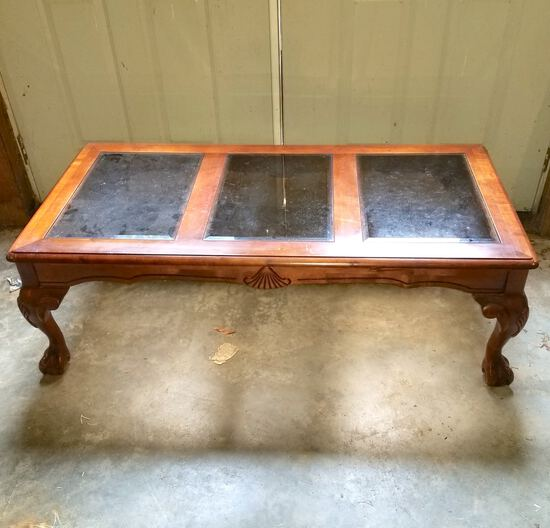 Glass Top Wooden Coffee Table with Ball & Claw Feet