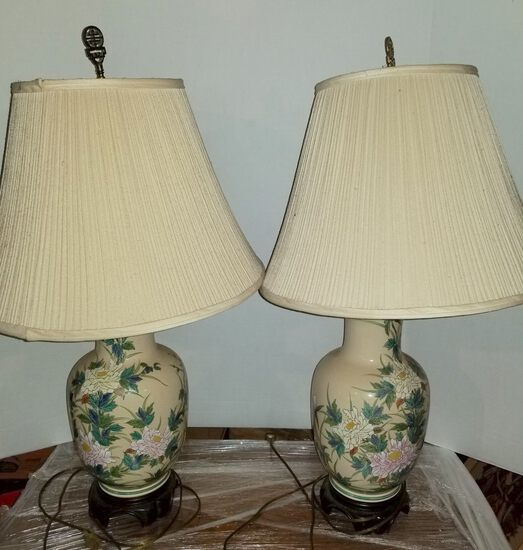Pair of Floral Ceramic Vase Lamps with Shades