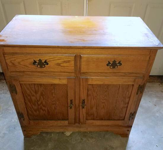 Vintage Oak Cabinet with 2 Drawers