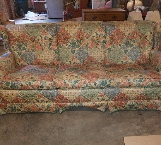 Ehtan Allen Sleeper Sofa with Nice Patchwork Pattern