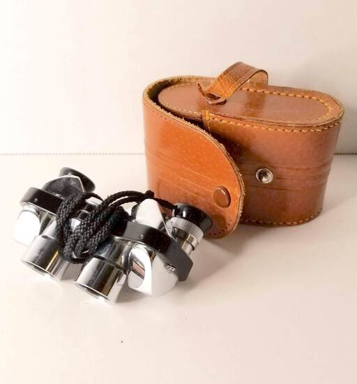 Small Binoculars/Opera Glasses with Leather Case