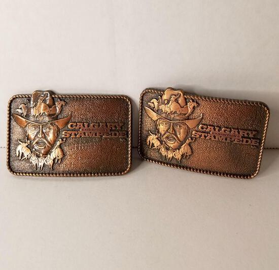 "Pair of ""Calgary Stampede Exhibition"" Brass Belt Buckles"