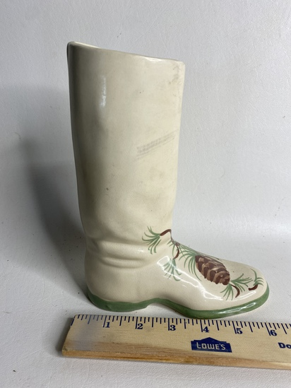 Ceramic Hand Painted Cowboy Boot Planter
