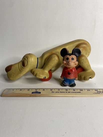 Mickey the Mouse Rubber Toy & Pull Along Dog
