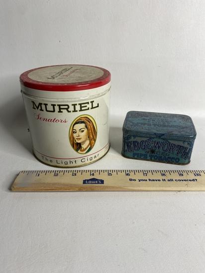 Lot of 2 Vintage Tobacco Tins