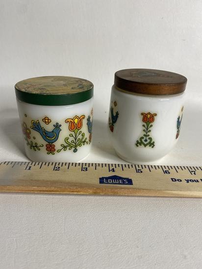 Pair of Milk Glass Jars w/  PA Dutch Style Bird Decals