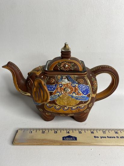 Porcelain Oriental Design Elephant Teapot
