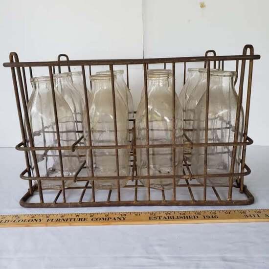 Vintage Metal Milk Bottle Crate With 12 Quart Size Milk Bottles