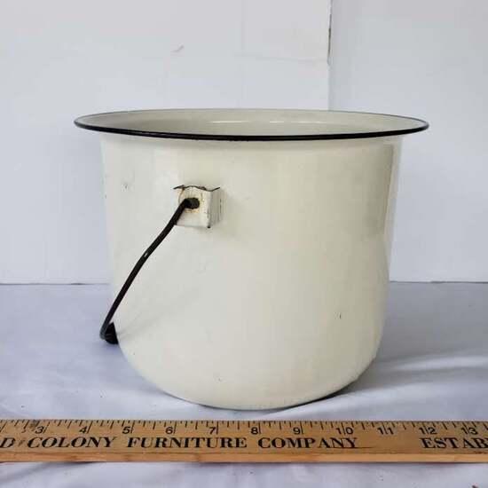 Vintage Enamel Bucket, White/Black