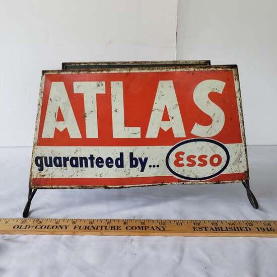 Vintage Atlas Guaranteed by Esso Tire Display Rack