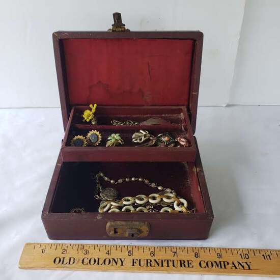 Vintage Jewelry Box with Assorted Costume Jewelry