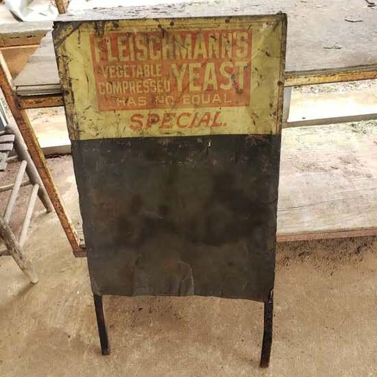 Antique Metal Fleischmann's Yeast Menu Board on Wood Frame