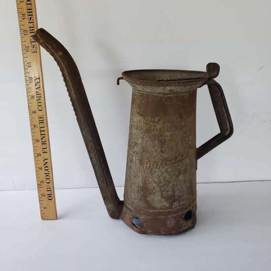 Antique Huffman Metal Oil Filler - Half Gallon