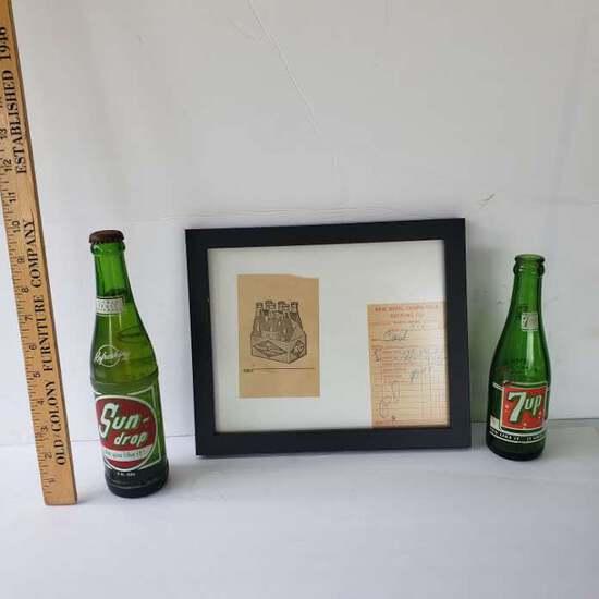 Framed Vintage RC Cola Receipt with 7 Up and Sundrop Bottles