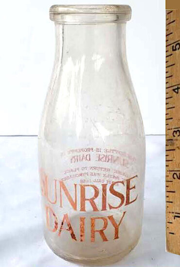 Vintage Sunrise Dairy Pint Size Glass Milk Bottle by Duraglas