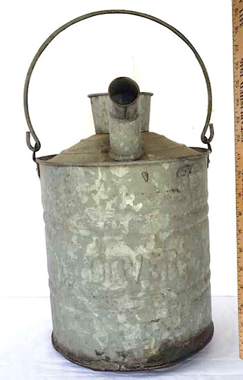 Large Vintage Dover Galvanized Gas/Oil Can, Embossed Name