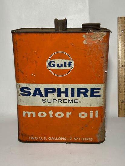 Gulf Saphire Supreme Motor Oil 2 Gallon Advertisement Can