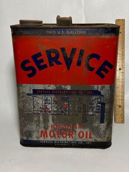 Service Regular Motor Oil 2 Gallon Advertisement Can
