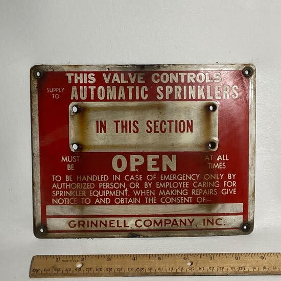 Heavy Porcelain Automatic Sprinklers Sign by Grinnell Company