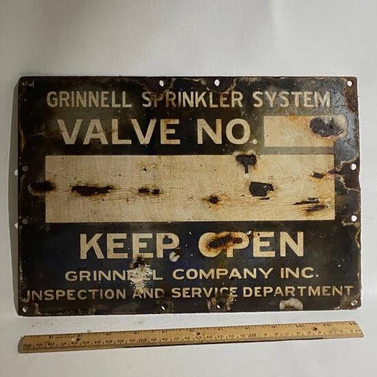 """Porcelain """"Grinnell Sprinkler System"""" Sign"""