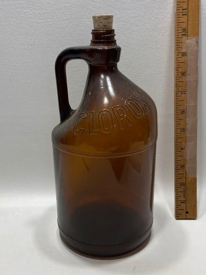 Brown Glass Clorox Bottle with Cork
