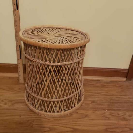 Vintage Wicker Small Side Table Or Trash Can