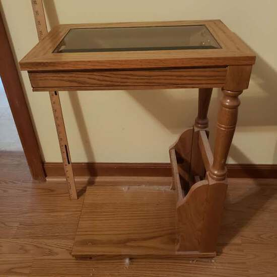 Oak Side Table with Magazine Rack, Glass Top