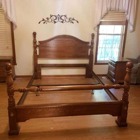 Kincaid Solid Wood Queen Size Bed Frame, Headboard, Footboard, Metal Rails