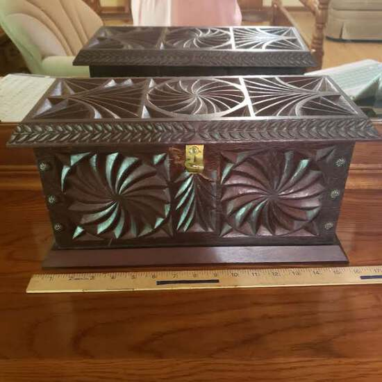 Vintage Beautiful Carved Heavy Jewelry Box with Wood Insert Tray, Name Engraved Inside
