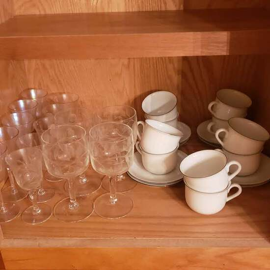Cabinet Contents, Etched Stemware, Teacups and Saucers