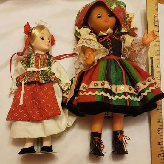 Lot of 2 Vintage Polish Folklore Dolls, Plastic