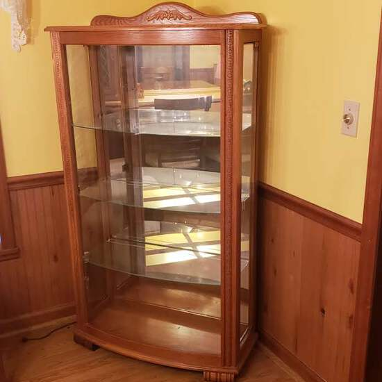 Pulaski Furniture Curved Front Curio Cabinet with 3 Glass Shelves, Side Entry, Lighted