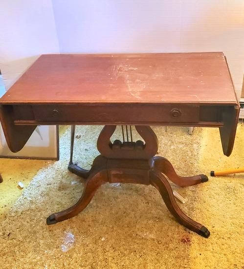 Vintage Mahogany Single Drawer Harp Pedestal Drop Leaf Table