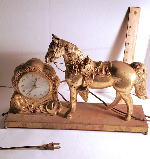 Vintage Western Cowboy Horse Clock with Brass Finish