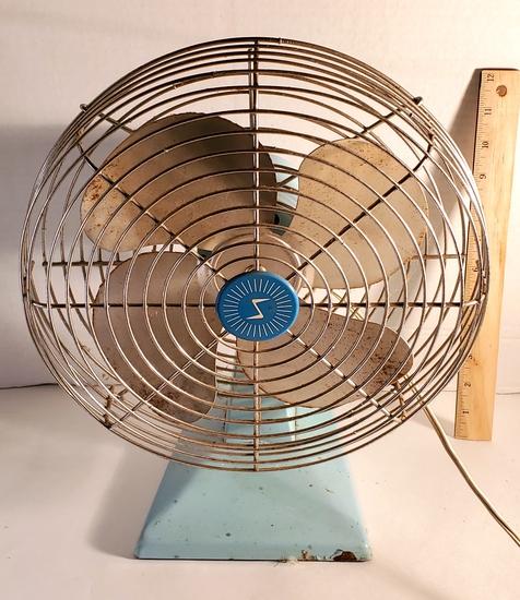 Vintage Blue Metal Fan