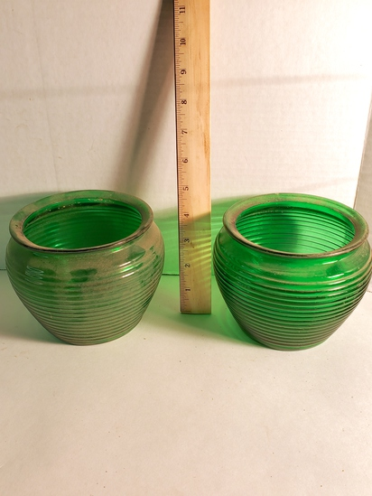 Pair of Vintage National Pottery Green Ribbed Art Glass Vases