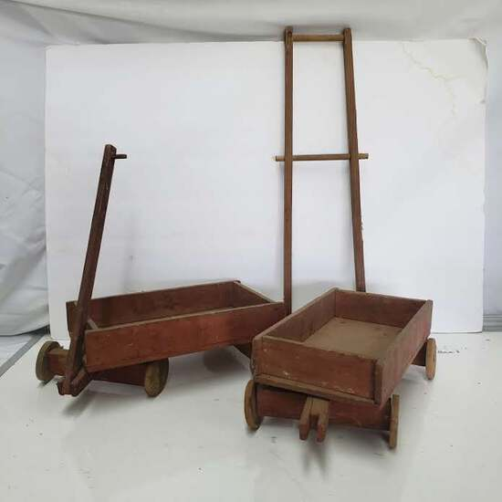 Lot of 2 Wooden Toy Wagons and Ladder