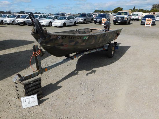14 ALUMINUM FISHING BOAT W/ TRAILER