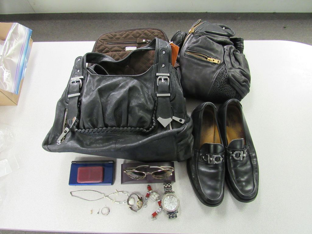 LOT OF ASST. CLOTHING, SHOES, WATCHES, RINGS, PURSES