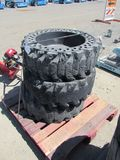(3) SOLID RUBBER SKID STEER TIRES