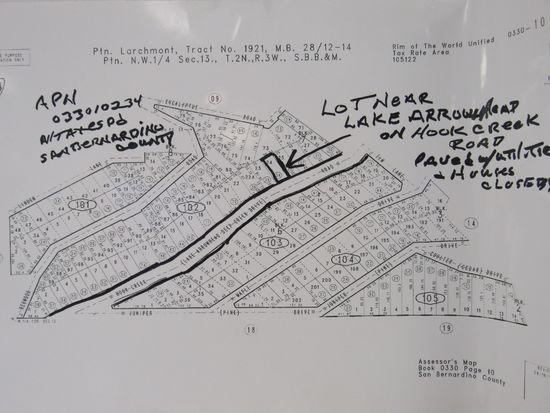 LOT NEAR LAKE ARROWHEAD ON HOOK CREEK ROAD