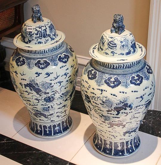 2 Medici Oriental style temple jars