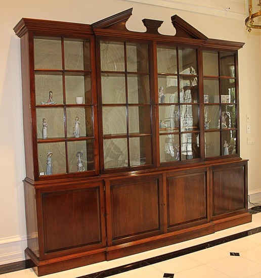 English Mahogany Breakfront Bookcase, Circa 1800, Keswick House in Putney London