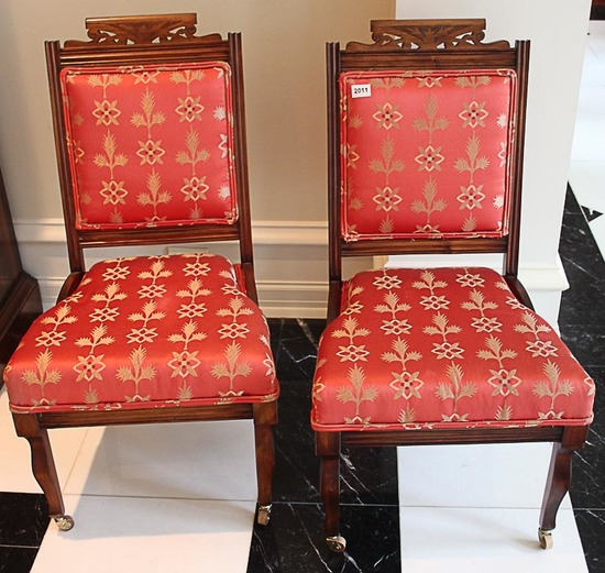 2 Upholstered wood chairs