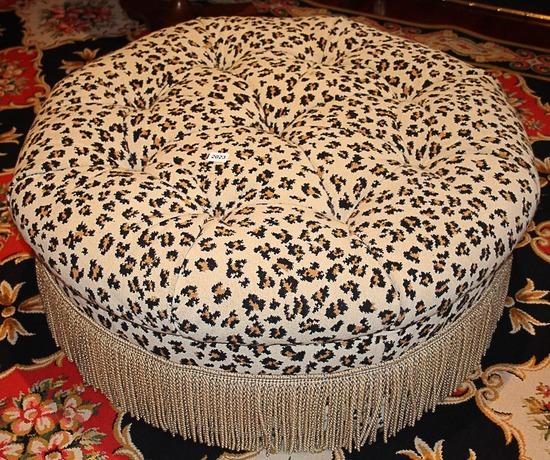 Leopard Print Round Ottoman