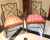 2 English Regency Faux Bamboo Arm Chairs